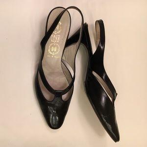 Vintage Couture Black Kitten Heel T Strap Pumps